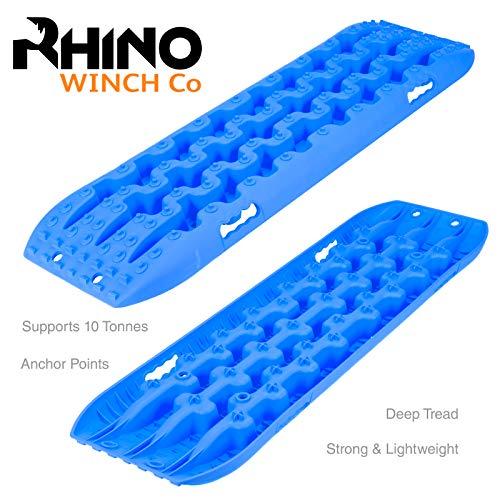 Rhino Par de 4 x 4 Pistas de recuperación de 10 t de tracción Fuera de Carretera, tableros de Puente, Arena/Nieve (Azul)