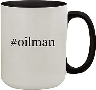 #oilman - 15oz Hashtag Colored Inner & Handle Ceramic Coffee Mug, Black