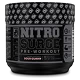 NITROSURGE Black Pre Workout Supplement - Nootropic Energy Booster Powder w/Dynamine & TeaCrine - PreWorkout Nitric Oxide Booster - 30 Servings, Sour Gummy