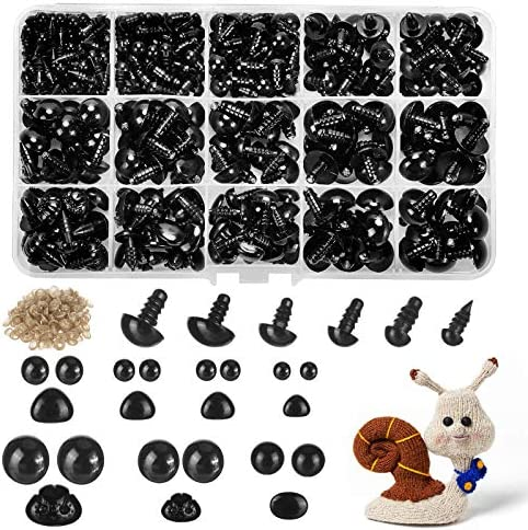 260pcs Plastic Safety Eyes and Noses with Washers, Craft Doll Eyes, Black Safety Eyes for Amigurumi, Puppet, Plush Animal and Teddy Bear