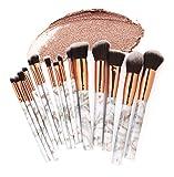 GONGFF Patrón de mármol Conjunto de Pinceles de Maquillaje Crema en Polvo Capacidad de reparación Blush Eyeshadow Lip Combination Tools Set
