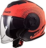 LS2 NC Casco per Moto, Hombre, Negro/Oroange, XL