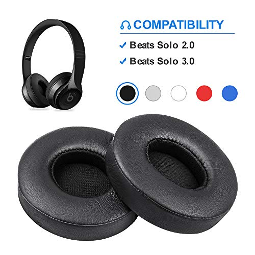 Beats Solo Replacement Ear Pads by Link Dream - Replacement Ear Cushions Kit Memory Foam Earpads Cushion Cover for Solo 2.0/3.0 Wireless Headphone 2 Pieces (Black)