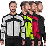 Viking Cycle Ironside Textile Mesh Motorcycle Jacket for Men - Waterproof, CE Approved Breathable Armor for Bikers (XL, Grey)