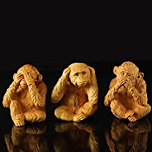 YZDSBD Statues Figurines Sculptures Wooden Statue Three Zodiac Monkey Carved Wooden Monkey Chinese Favor Gift Orangutan Statues for Decoration Figurines Miniature,1Set