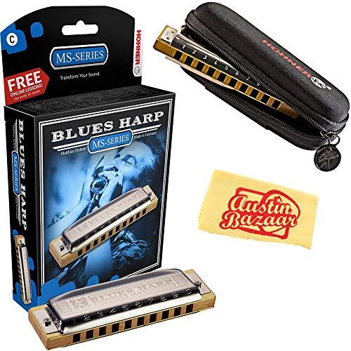 Hohner 532 Blues Harp MS Harmonica - Key of C Bundle with Carrying Case, Polishing Cloth