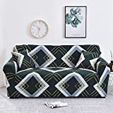 Funda elástica para sofá Fundas de Estilo Bohemio Fundas de sofá a Cuadros para Sala de Estar Funda sofá Funda para Silla de sofá en Forma de L A24 1 Plaza