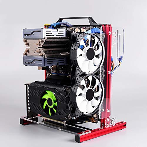 ÖPpet Datorfodral, Atx/M-Atx/Itx ÖPpet Pc-Chassi Diy öPpet Aluminiumramchassistativ, Vertikal öVerklockning VäRmeavledning ChassiväSka-Svart/RöD(Röd)