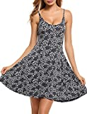 ACEVOG Women's Casual Fit and Flare Floral Shoulder Strap Skater Dress,Grey,X-Large