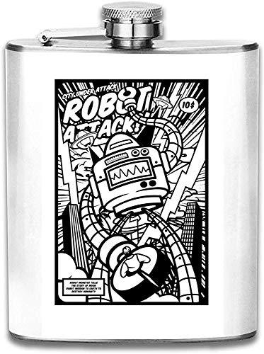 Robot Attack Comic Style Print Hip Flask Pocket Bottle Flagon Acero inoxidable portátil Flagon 7OZ