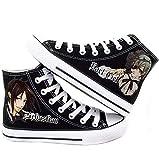 Black Butler Kuroshitsuji Anime Ciel and Sebastian Cosplay Shoes Canvas Shoes Sneakers White and Black