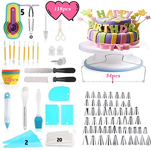 ALY Cake Decorating Supplies Kit, Baking Supplies Set with Rotating Turntable Stand, Frosting, Piping Bags - Best 118pcs