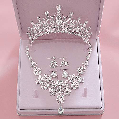 Penxina新娘饰品套装 - 新娘水晶钻发饰皇冠皇冠耳环项链套装婚礼舞会党(A)