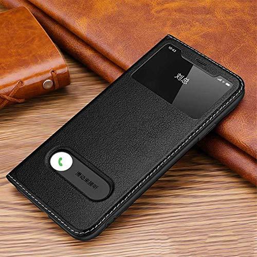 GHC Custodie & Cover Per iphone 11/11 Pro Max, Window View Coque Protezione Magnetica Custodia In Vera Pelle Per iphone 11 Pro (Colore: Nero, Materiale: Per 11 Pro Max)