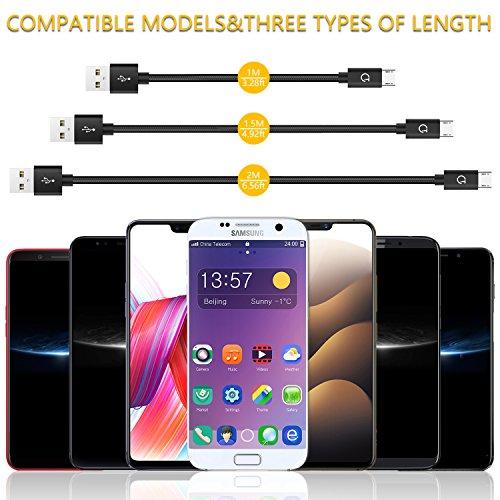 Micro USB Kabel, Gritin 3 Stück 1m+1.5m+2m Nylon USB cable Ladekabel 2.4A geflochtenes für Android Smartphones, Galaxy, HTC, Sony, Nexus und mehr - Schwarz
