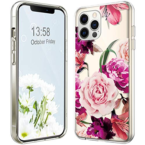 Case for iPhone 12/iPhone 12 Pro Case with Camera Lens Protector,Cute Art Design Crystal Clear Case for Women Girl,Shockproof Slim Fit TPU Silicone Phone Case for iPhone 12/12 Pro,Pink peony flower