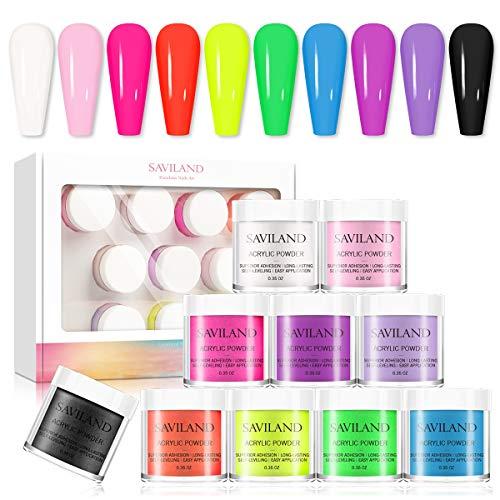 Saviland Acrylic Powder set - Neon Acrylic Nail Powder Set,10 Fluorescent Color Professional Polymer Kit Nail Extension for Nail Art
