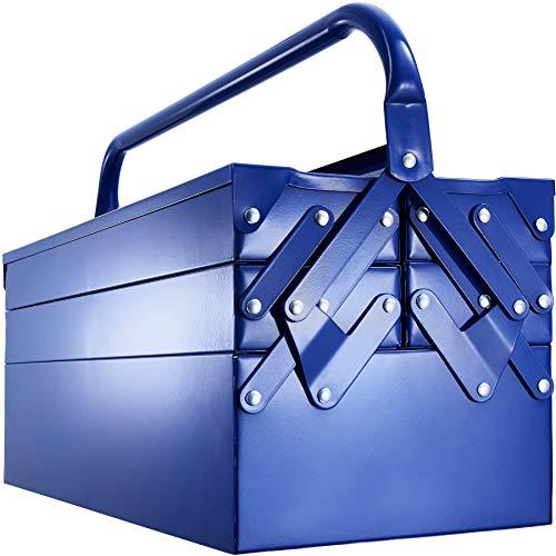 tectake 403560 Montage Werkzeugkasten aus Metall, leer, Werkzeugkoffer mit 5 Fächern, Vorrichtung für Vorhängeschloss, mit Tragebügel, 58,5 x 21 x 32 cm, blau