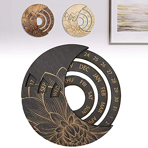 Ewiger Kalender aus Holz, multifunktional, rund, ewiger Kalender, Arbeitskalender, Schreibtischkalender,...