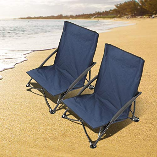 Magshion 2pc Low Sling Event Sand Beach Camping Folding Chair with Carrying Bag