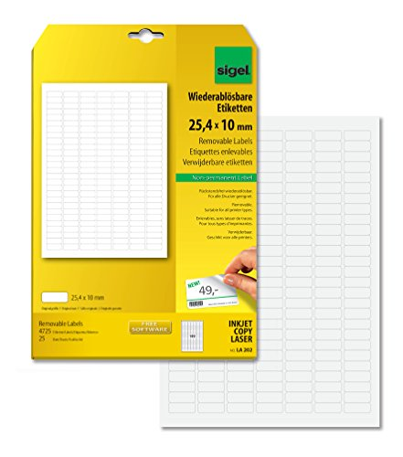 SIGEL LA202 Etiquetas despegables (Ink/Laser/Copy), 25,40x10 mm (A4), 4725 Et.=25 hojas
