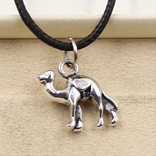 LBBYMX Co.,ltd Collar de Moda y Cuero Negro sintético Duradero Hermoso Desierto Camel Colgante Cordón Gargantilla Encanto Retro Boho Collar Joyería