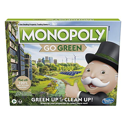 Monopoly: Go Green Edition Game Made with 100% Recycled Paper Parts and PlantBased Plastic Tokens Board Game for Families Ages 8 and Up