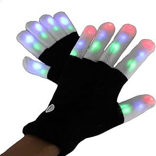 Amasawa leuchtende Handschuhe Aufrechtzuerhalten Gloves LED Blinkende Finger Beleuchtung Rave Handschuhe 7 Farben Lichtshow für Weihnachten, Party, Tanzen, Bars und Aufführungen (schwarz)