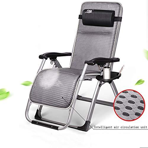 Lounge chair Zero Gravity Recliner Asiento Silla Plegable Al Aire Libre Patio Tumbona Suave Facil de Usar Multiples Posiciones Cojin de Cabeza Ajustable extraible Cojin,Gray