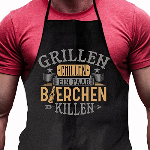 Grillschürze Grillen Chillen Bierchen Killen – Lustiges Geschenk für echte Männer und Grill-Fans