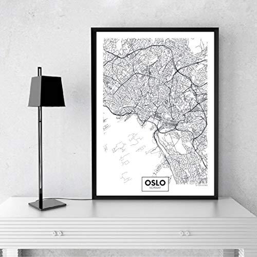 Danjiao Ciudad Moderna Mapa De Oslo Minimalista Lienzo