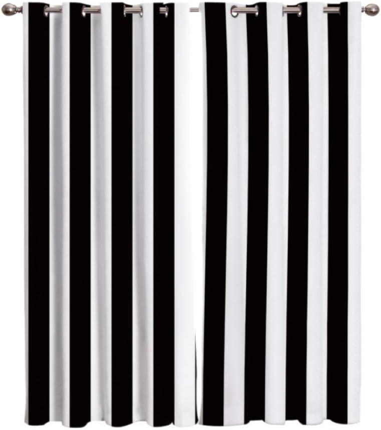 Schwarz-Wei/ß-Streifen W 140 X L 160 cm W/ärmeisolierender Vorhang L/ärm Reduzieren Schlafzimmer Wohnzimmer Kinderzimmer Verdunkelungsvorh/änge YJRXSS Kinderzimmer Gardinen