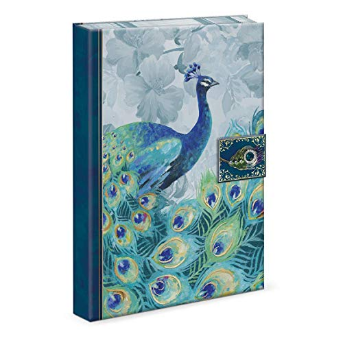 Punch Studio Journal with Brooch Embellishment and Magnetic Tab Closure, Emerald Peacock Design (46620)