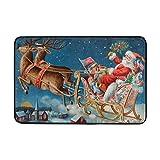 Felsiago Alfombrillas Alfombrilla Lavable Antideslizante Alfombrillas para Entrada Interior al Aire Libre, Flying Santa and His Sleigh, 23.6 x 15.7 Pulgadas