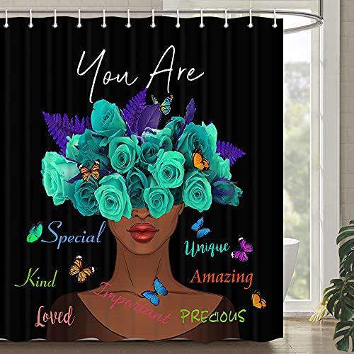 Black Girl Duschvorhang für Badezimmer, afrikanische amerikanische Duschvorhänge Queen Black Woman Duschvorhang motivierender schwarzer Kunst-Duschvorhang Polyester wasserdicht 183 x 183 cm