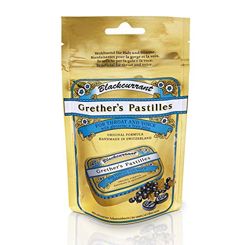 Grether's Pastilles for Throat and Voice, Blackcurrant, Regular, 100 g / 3.4 oz