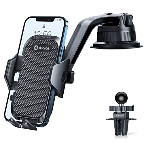 Andobil Car Phone Mount, [Upgrade Ultra Stable] Universal Dashboard Air Vent Windshield Hands-Free Cell Phone Car Holder Compatible with iPhone 12 11 Pro XR XS Max 8 Plus Samsung S20 S21 All Phones