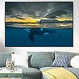 cuadros decoracion lienzowall art Póster Paisaje del océano nórdico Mural de ballenas asesinas de cetáceos polares(50x70cm-Frameloos )