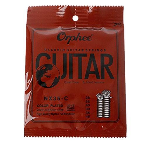 E-HONER 6-teilige Klassische Gitarrensaiten 028-045 Zoll Nylon Core Steel Plated
