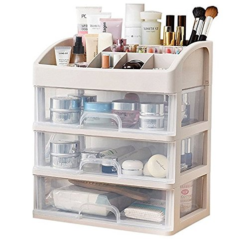 Tia-Ve Caja de almacenamiento de cosméticos Organizador de maquillaje con varias capas para escritorio de baño
