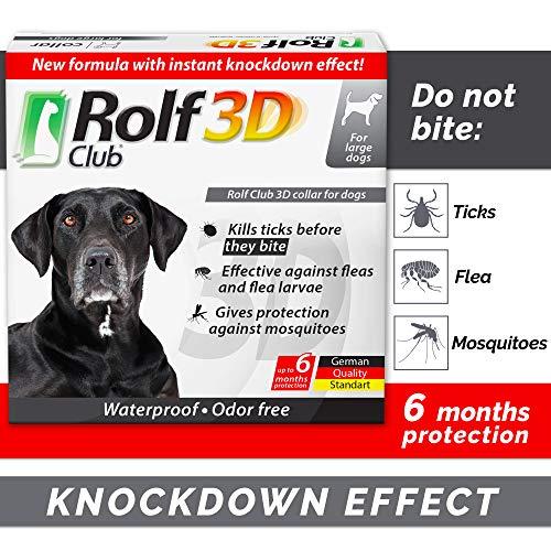 Rolf Club 3D FLEA Collar for Dogs - Flea and Tick Prevention for Dogs - Dog Flea and Tick Control for 6 Months - Safe Tick Repellent - Waterproof Tick Treatment (L)