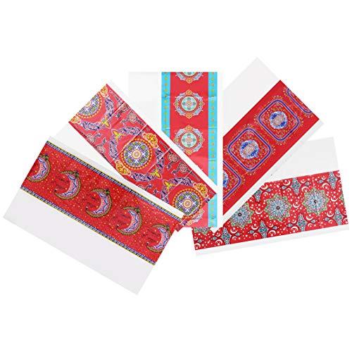 ABOOFAN 5 Piezas de Plástico Manteles de Mesa Eid Mubarak Ramadan Funda de Mesa Impermeable Musulmán Islamismo Fiesta Protector de Mesa para Fiestas Musulmanas Suministros de Decoraciones