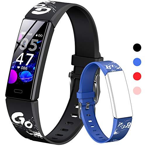 HOFIT Fitness Tracker, Aktivitäts-Tracker mit Schrittzählern, Herzfrequenz- und Schlafmonitor, Stoppuhr, IP68 wasserdicht, Smartwatch Armband mit 2 Armbändern, Geschenk für Jugendliche (Schwarz)