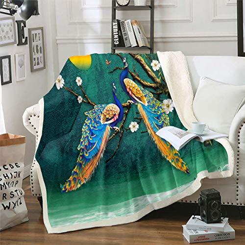 Loussiesd - Manta de forro polar con diseño de pavo real para sofá, sillón, ramas de árboles, manta de felpa, estilo elegante, decoración de la habitación, manta de franela, doble 152 x 200 cm