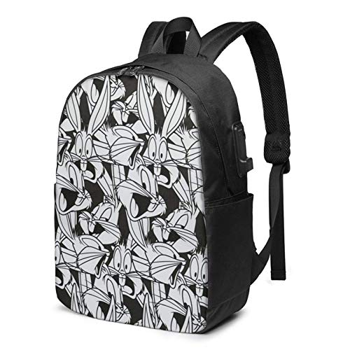 Hdadwy Mochila Escolar Bugs-Bunny Bolsa de 17 Pulgadas con Puerto de Carga USB Puerto para Auriculares Negro