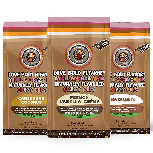 Crazy Cups Decaf Flavored Ground Coffee Variety Pack, Includes French Vanilla Crème, Caribbean Coconut,and Hazelnuts, in 10 oz Bags, For Brewing Flavored Hot or Iced Decaf Coffee, Variety 3 Pack
