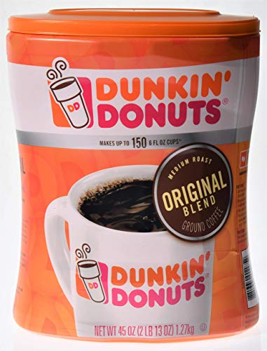 Dunkin' Donuts Original Ground Coffee, 45 oz - Makes up to 150 6 fl oz cups, 2 Pack