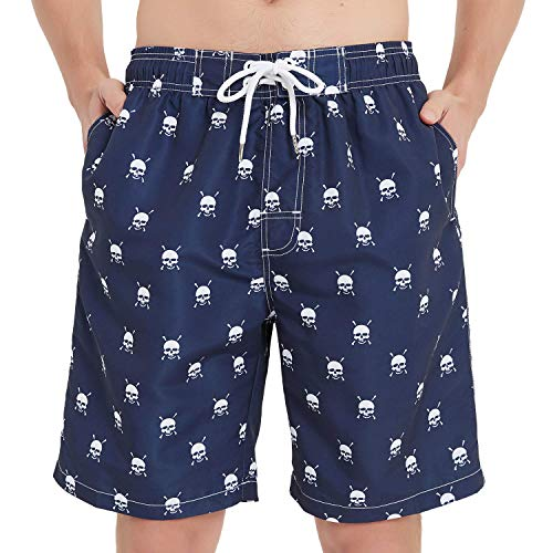 KAILUA SURF Mens Swim Trunks Long, Quick Dry Mens Boardshorts, 9 Inches Inseam Mens Bathing Suits with Mesh Lining (Skulls, L)