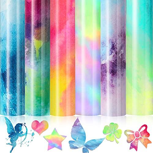 6 Sheets 12 x 8 Inch Tie Dye Iron On Vinyl Tie-Dye HTV Heat Transfer Vinyl Rainbow Color HTV Iron On Vinyl Cloud Watercolor HTV Bundles for DIY T-Shirt, Fabric, Clothes