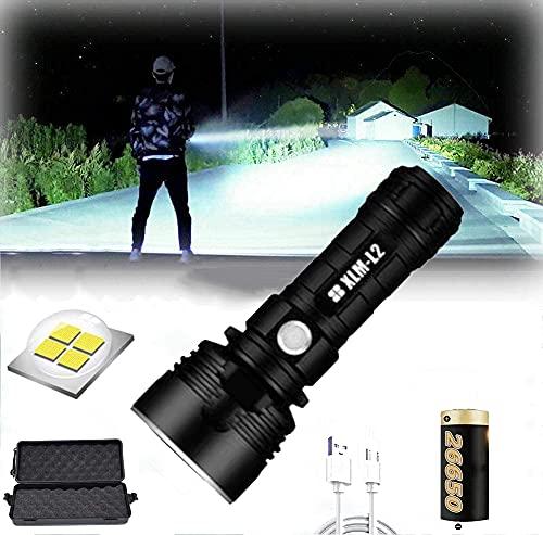 Linterna LED impermeable de alta potencia de 30000-100000 lúmenes, Ultra brillante de 3 modos Linterna LED XLM-P70, Linterna recargable USB (25W XLM-L2, Batería de litio única)